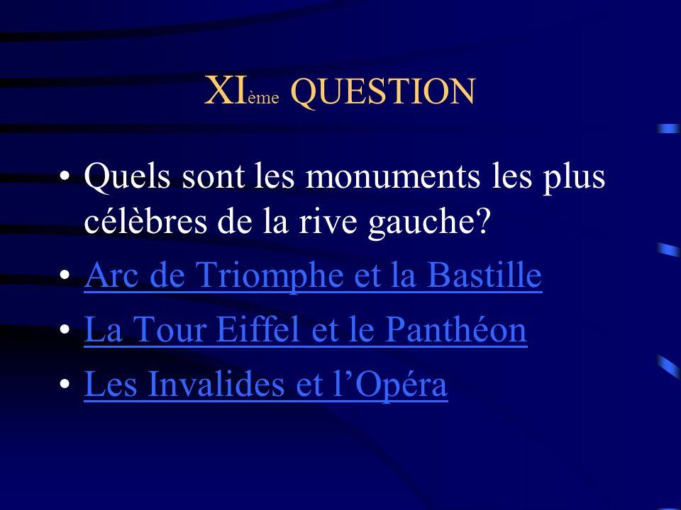 XI ème QUESTION Quels sont les monuments les plus célèbres de la rive gauche.
