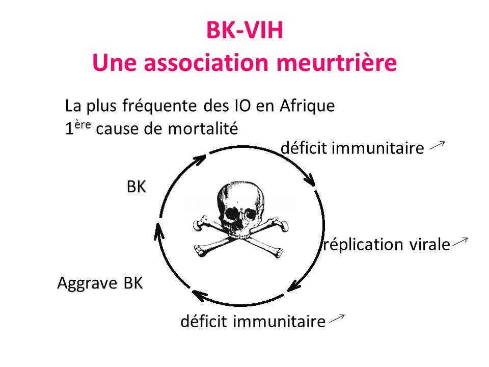 BK-VIH Une association meurtrière BK déficit immunitaire réplication virale déficit immunitaire Aggrave BK La plus fréquente des IO en Afrique 1 ère c