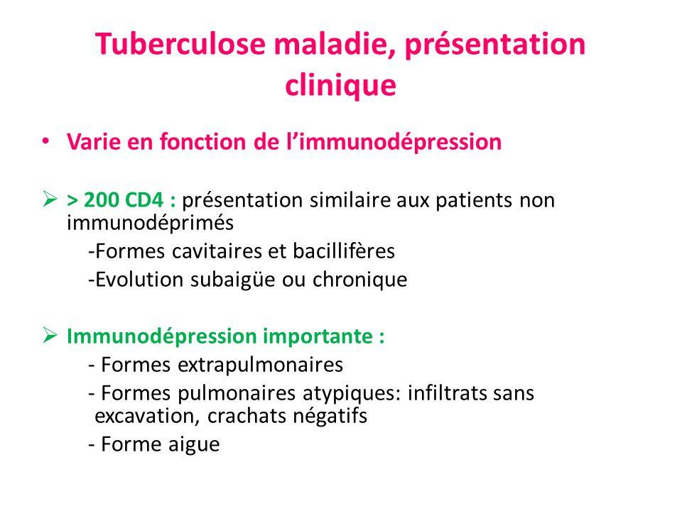 Tuberculose maladie, présentation clinique Varie en fonction de limmunodépression > 200 CD4 : présentation similaire aux patients non immunodéprimés -