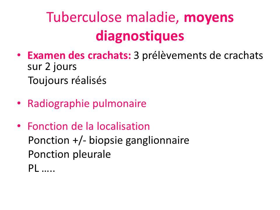 Tuberculose maladie, moyens diagnostiques Examen des crachats: 3 prélèvements de crachats sur 2 jours Toujours réalisés Radiographie pulmonaire Foncti