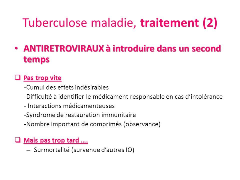 Tuberculose maladie, traitement (2) ANTIRETROVIRAUX à introduire dans un second temps ANTIRETROVIRAUX à introduire dans un second temps Pas trop vite