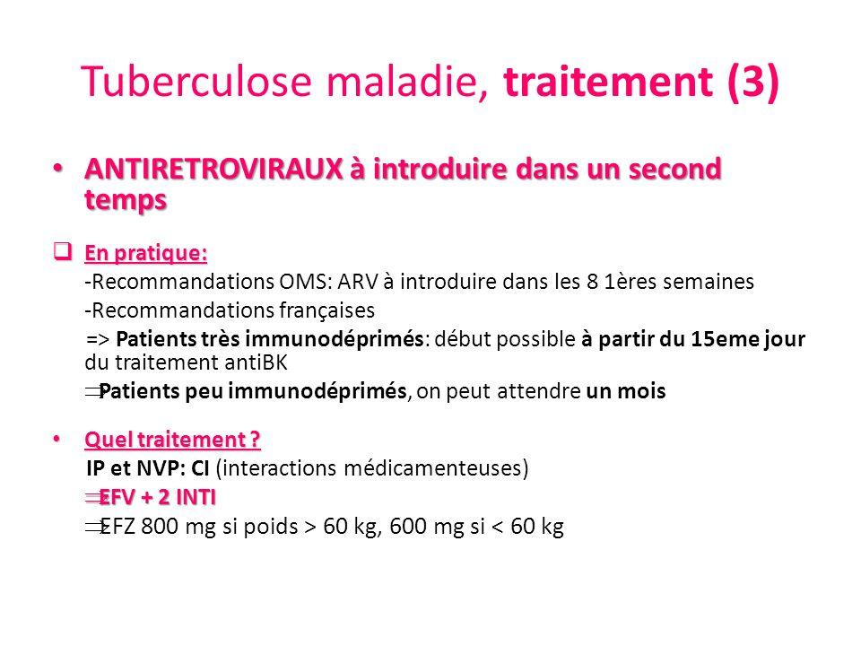 Tuberculose maladie, traitement (3) ANTIRETROVIRAUX à introduire dans un second temps ANTIRETROVIRAUX à introduire dans un second temps En pratique: E