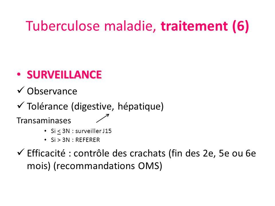 Tuberculose maladie, traitement (6) SURVEILLANCE SURVEILLANCE Observance Tolérance (digestive, hépatique) Transaminases Si < 3N : surveiller J15 Si >