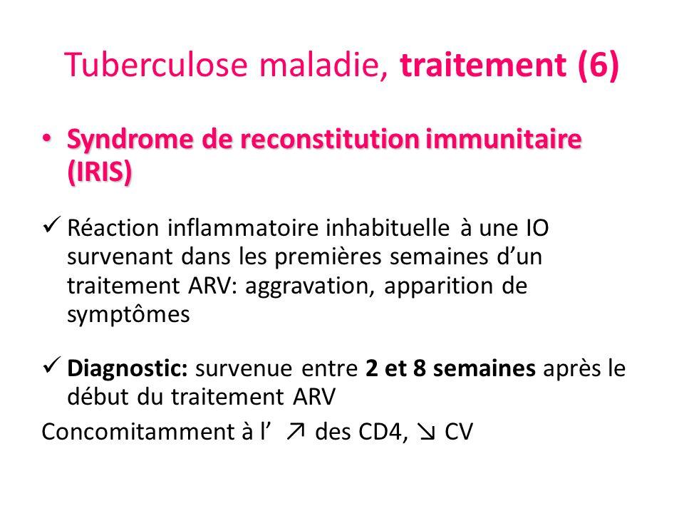 Tuberculose maladie, traitement (6) Syndrome de reconstitution immunitaire (IRIS) Syndrome de reconstitution immunitaire (IRIS) Réaction inflammatoire