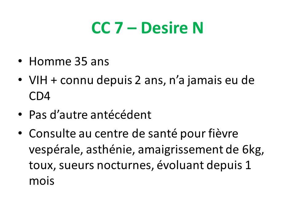 CC 7 – Desire N Homme 35 ans VIH + connu depuis 2 ans, na jamais eu de CD4 Pas dautre antécédent Consulte au centre de santé pour fièvre vespérale, as