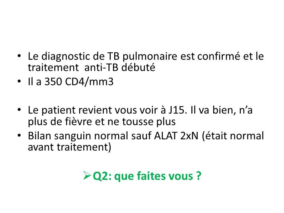 Le diagnostic de TB pulmonaire est confirmé et le traitement anti-TB débuté Il a 350 CD4/mm3 Le patient revient vous voir à J15. Il va bien, na plus d