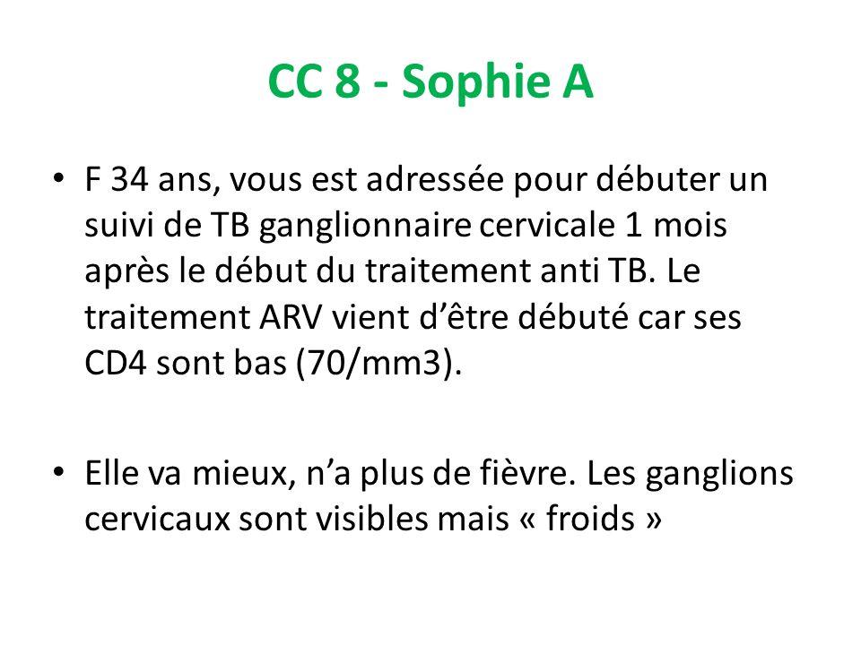 CC 8 - Sophie A F 34 ans, vous est adressée pour débuter un suivi de TB ganglionnaire cervicale 1 mois après le début du traitement anti TB. Le traite