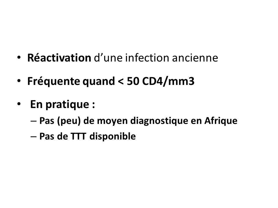 Réactivation dune infection ancienne Fréquente quand < 50 CD4/mm3 En pratique : – Pas (peu) de moyen diagnostique en Afrique – Pas de TTT disponible