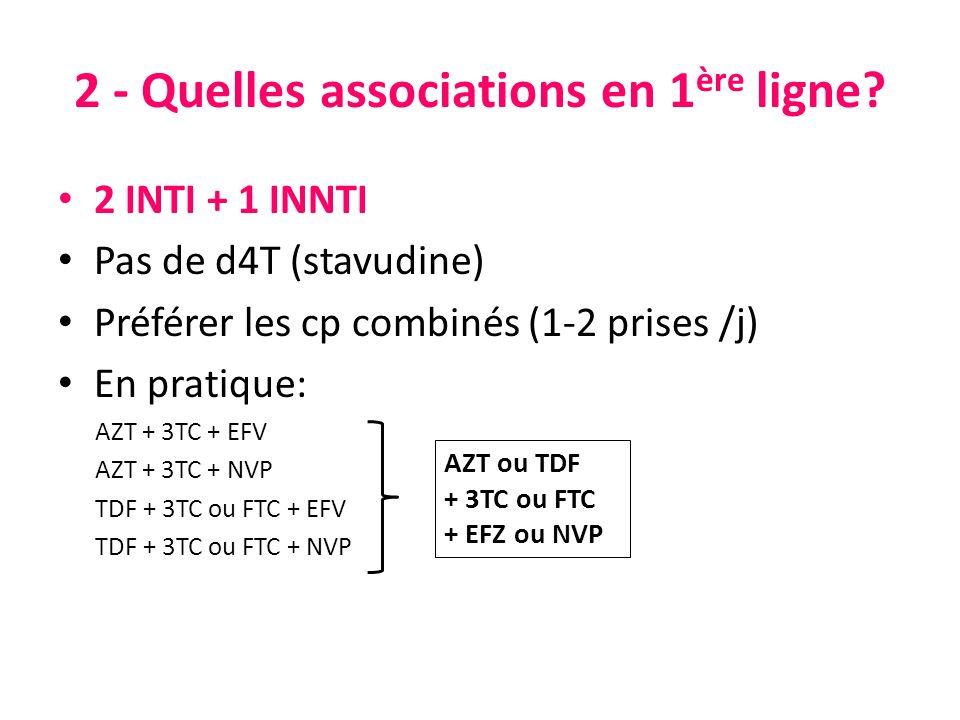 2 INTI + 1 INNTI Pas de d4T (stavudine) Préférer les cp combinés (1-2 prises /j) En pratique: AZT + 3TC + EFV AZT + 3TC + NVP TDF + 3TC ou FTC + EFV T