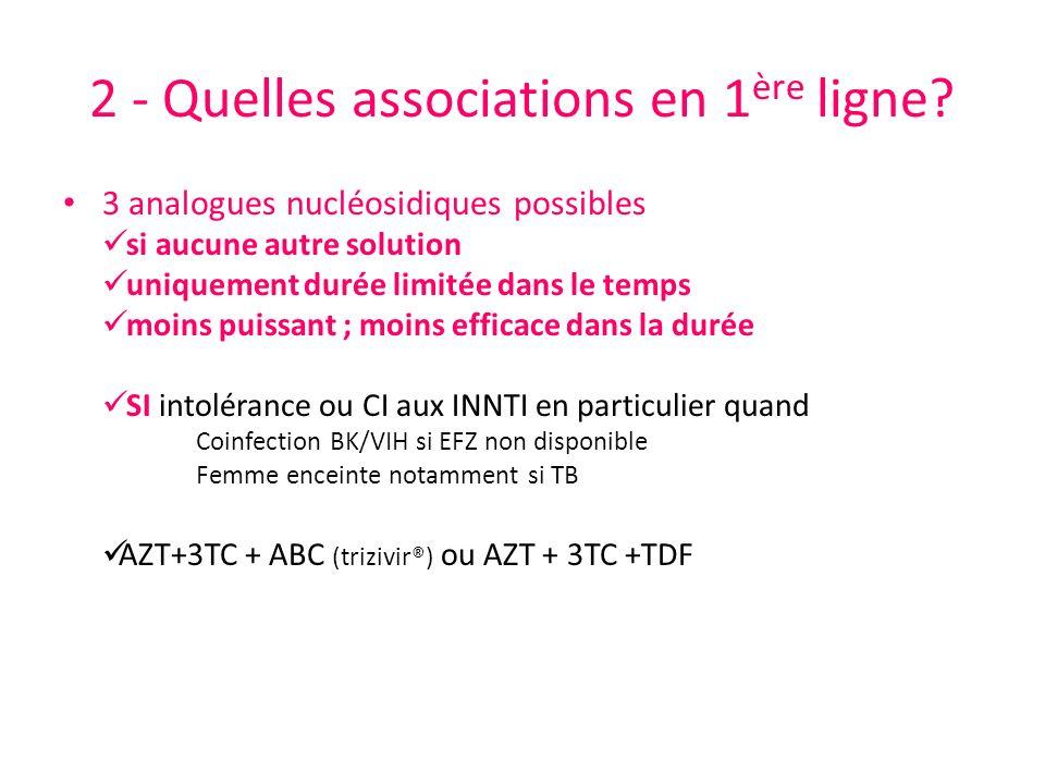 2 - Quelles associations en 1 ère ligne? 3 analogues nucléosidiques possibles si aucune autre solution uniquement durée limitée dans le temps moins pu