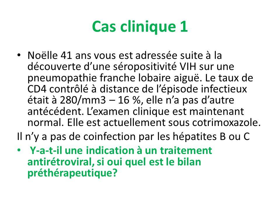 Cas clinique 1 Noëlle 41 ans vous est adressée suite à la découverte dune séropositivité VIH sur une pneumopathie franche lobaire aiguë. Le taux de CD