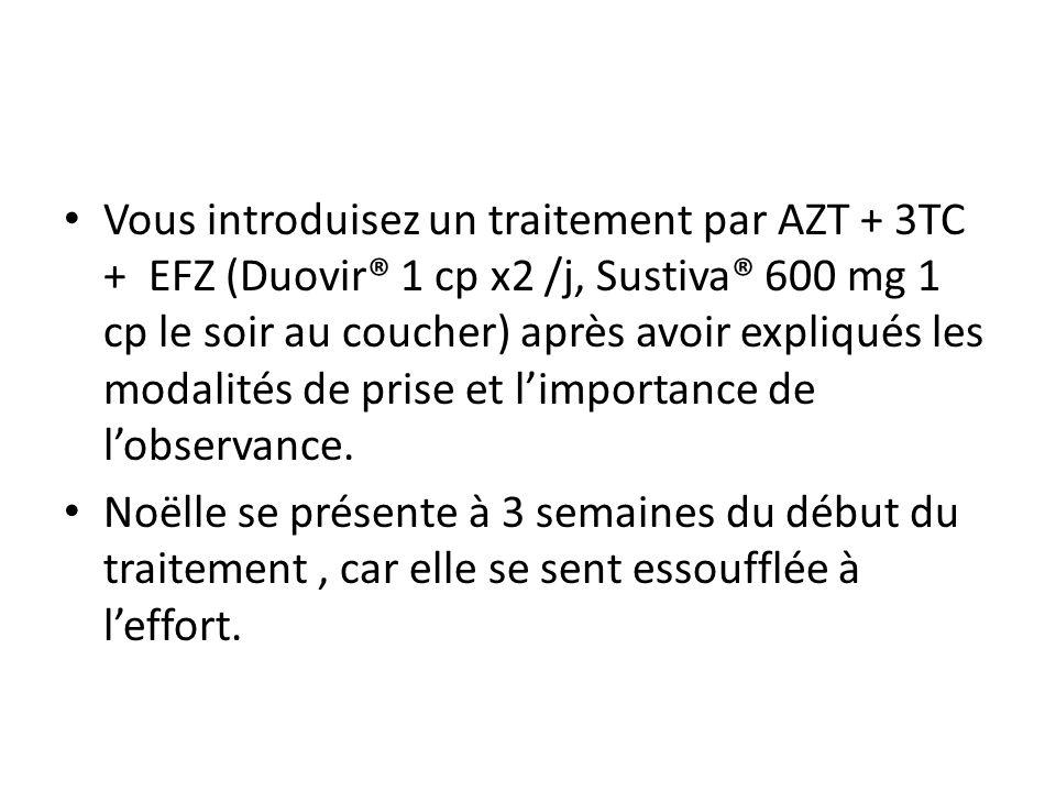 Vous introduisez un traitement par AZT + 3TC + EFZ (Duovir® 1 cp x2 /j, Sustiva® 600 mg 1 cp le soir au coucher) après avoir expliqués les modalités d