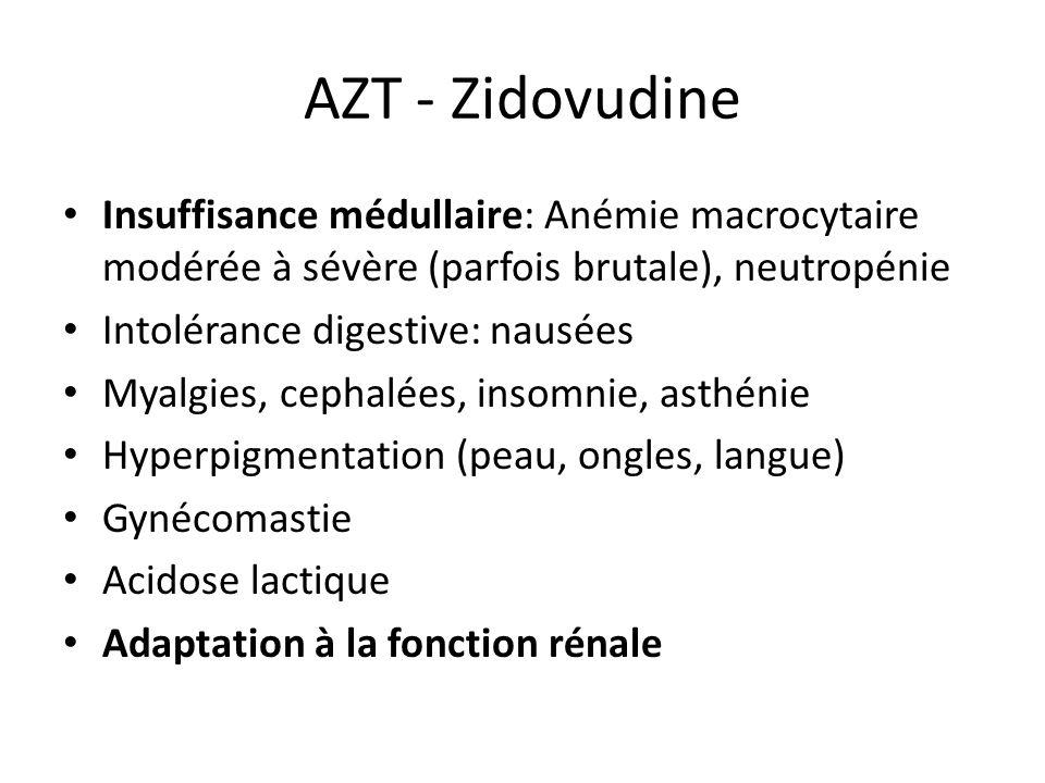 AZT - Zidovudine Insuffisance médullaire: Anémie macrocytaire modérée à sévère (parfois brutale), neutropénie Intolérance digestive: nausées Myalgies,