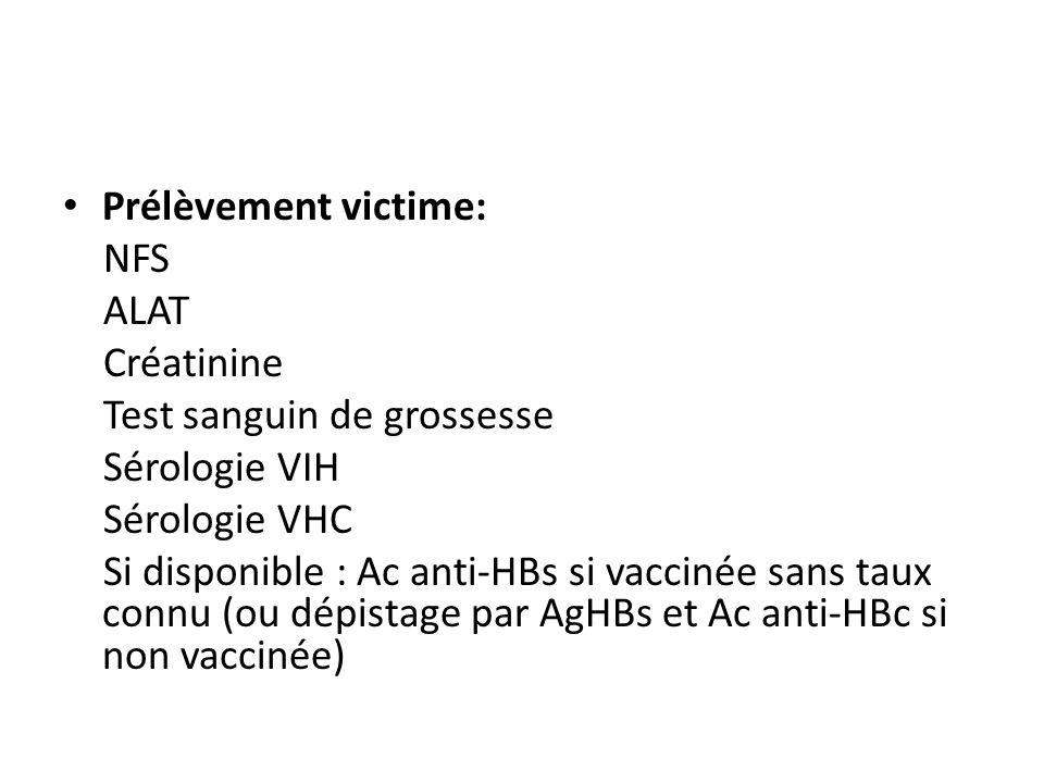 Prélèvement victime: NFS ALAT Créatinine Test sanguin de grossesse Sérologie VIH Sérologie VHC Si disponible : Ac anti-HBs si vaccinée sans taux connu