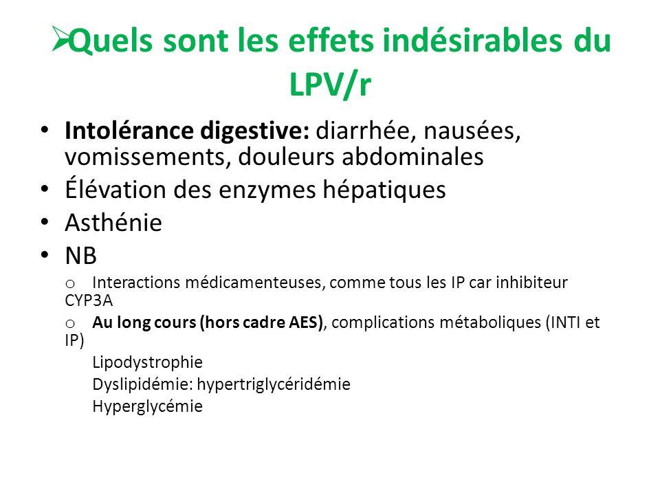 Quels sont les effets indésirables du LPV/r Intolérance digestive: diarrhée, nausées, vomissements, douleurs abdominales Élévation des enzymes hépatiq