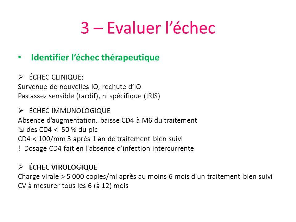 3 – Evaluer léchec Identifier léchec thérapeutique ÉCHEC CLINIQUE: Survenue de nouvelles IO, rechute dIO Pas assez sensible (tardif), ni spécifique (I