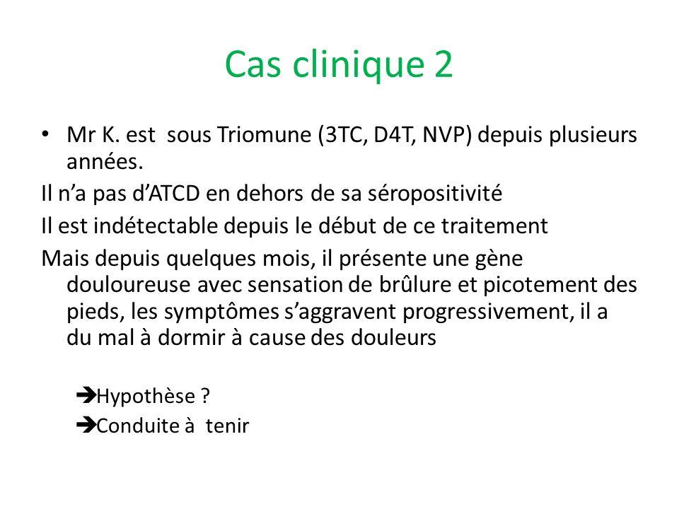 Cas clinique 2 Mr K. est sous Triomune (3TC, D4T, NVP) depuis plusieurs années. Il na pas dATCD en dehors de sa séropositivité Il est indétectable dep
