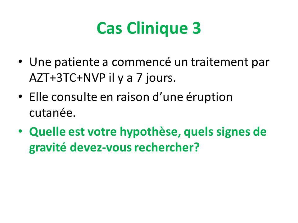 Cas Clinique 3 Une patiente a commencé un traitement par AZT+3TC+NVP il y a 7 jours. Elle consulte en raison dune éruption cutanée. Quelle est votre h