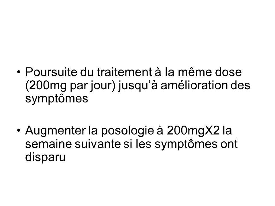 Poursuite du traitement à la même dose (200mg par jour) jusquà amélioration des symptômes Augmenter la posologie à 200mgX2 la semaine suivante si les