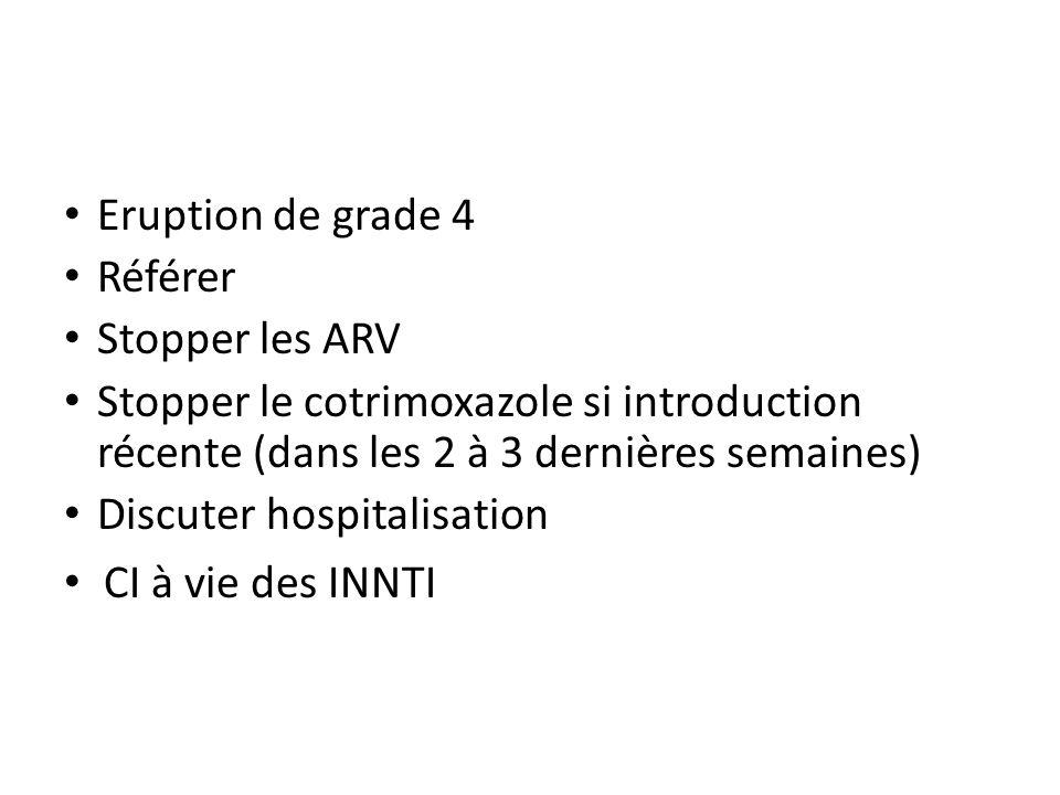 Eruption de grade 4 Référer Stopper les ARV Stopper le cotrimoxazole si introduction récente (dans les 2 à 3 dernières semaines) Discuter hospitalisat
