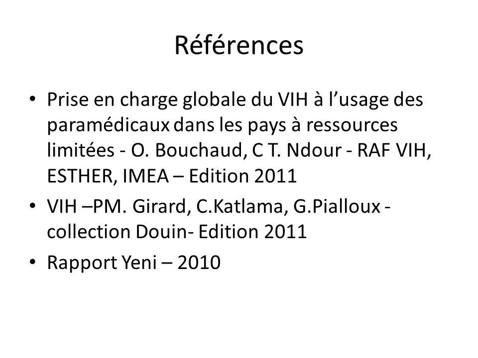Références Prise en charge globale du VIH à lusage des paramédicaux dans les pays à ressources limitées - O. Bouchaud, C T. Ndour - RAF VIH, ESTHER, I