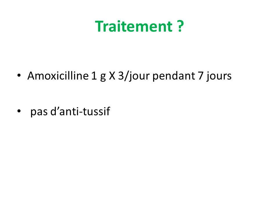Traitement ? Amoxicilline 1 g X 3/jour pendant 7 jours pas danti-tussif