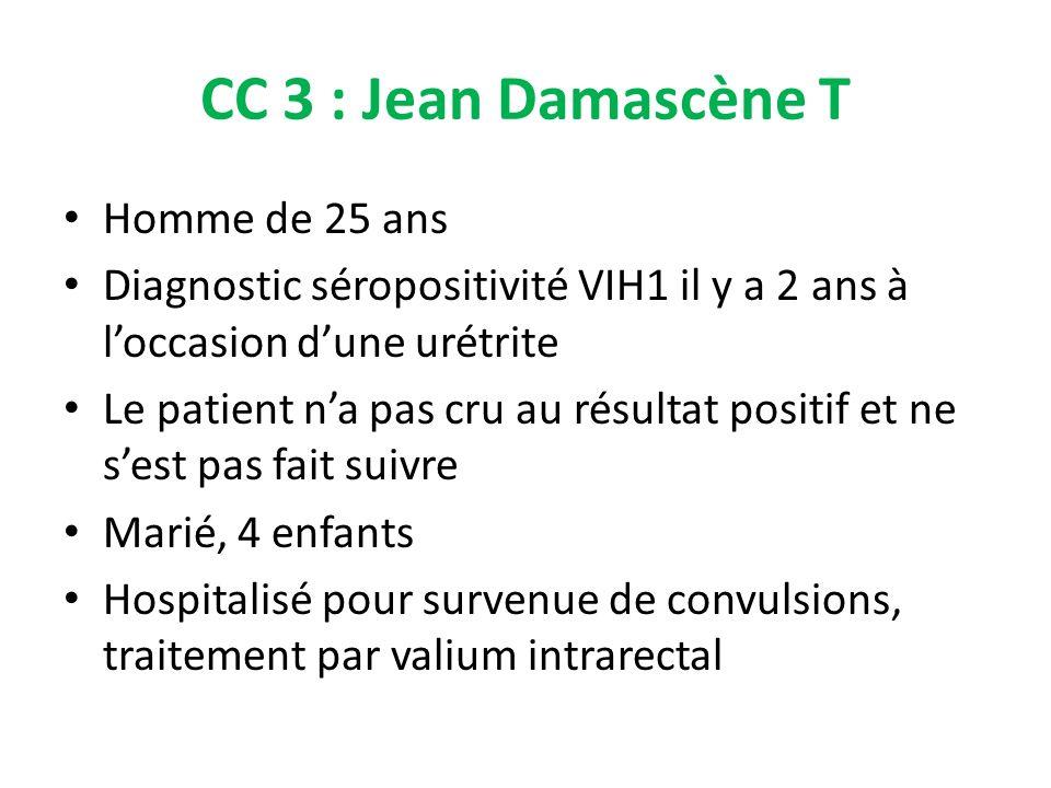 CC 3 : Jean Damascène T Homme de 25 ans Diagnostic séropositivité VIH1 il y a 2 ans à loccasion dune urétrite Le patient na pas cru au résultat positi