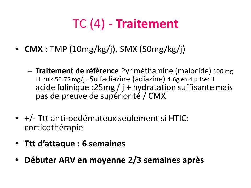 TC (4) - Traitement CMX : TMP (10mg/kg/j), SMX (50mg/kg/j) – Traitement de référence Pyriméthamine (malocide) 100 mg J1 puis 50-75 mg/j - Sulfadiazine