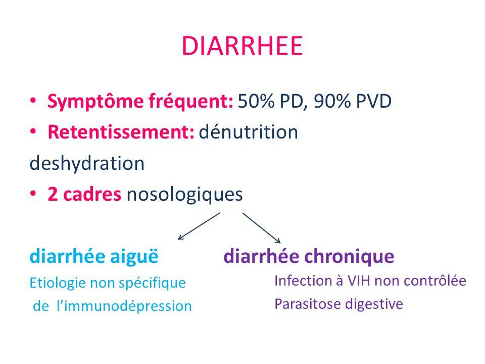 DIARRHEE Symptôme fréquent: 50% PD, 90% PVD Retentissement: dénutrition deshydration 2 cadres nosologiques diarrhée aiguëdiarrhée chronique Etiologie