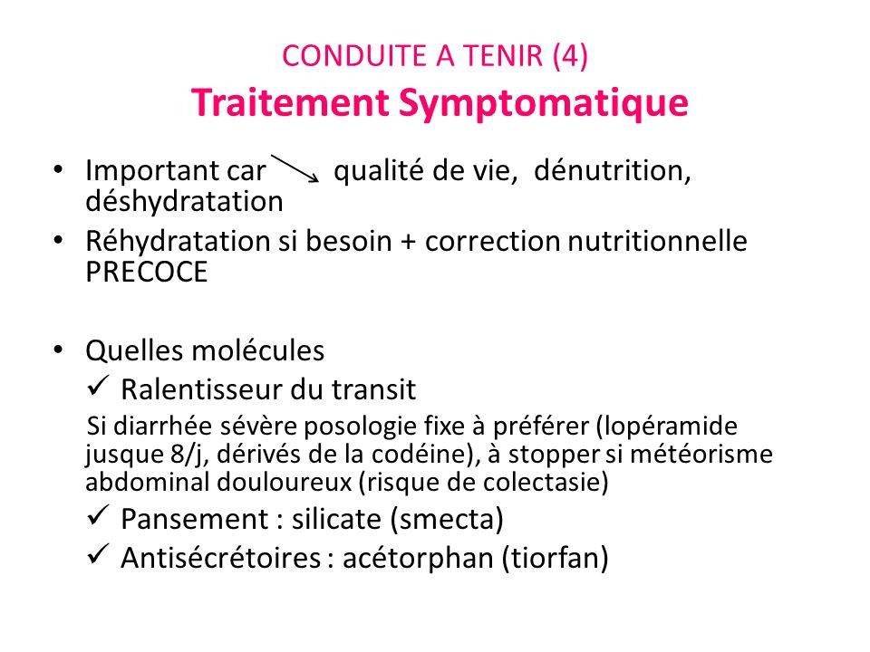 CONDUITE A TENIR (4) Traitement Symptomatique Important car qualité de vie, dénutrition, déshydratation Réhydratation si besoin + correction nutrition