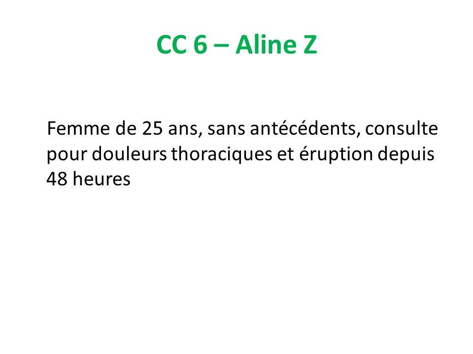 CC 6 – Aline Z Femme de 25 ans, sans antécédents, consulte pour douleurs thoraciques et éruption depuis 48 heures