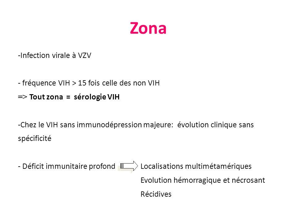 -Infection virale à VZV - fréquence VIH > 15 fois celle des non VIH => Tout zona = sérologie VIH -Chez le VIH sans immunodépression majeure: évolution
