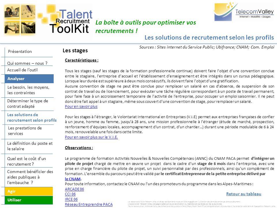 Les solutions de recrutement selon les profils La boîte à outils pour optimiser vos recrutements ! Caractéristiques : Tous les stages (sauf les stages