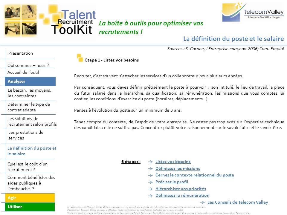 La définition du poste et le salaire La boîte à outils pour optimiser vos recrutements ! Listez vos besoins Définissez les missions Cernez le contexte