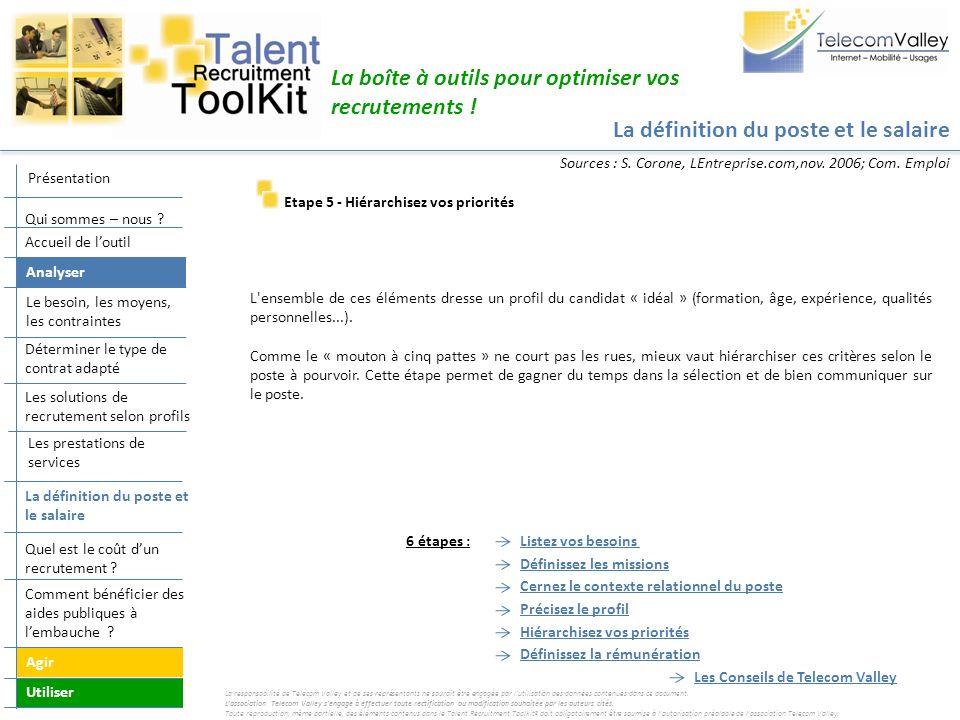 La définition du poste et le salaire La boîte à outils pour optimiser vos recrutements ! Etape 5 - Hiérarchisez vos priorités L'ensemble de ces élémen