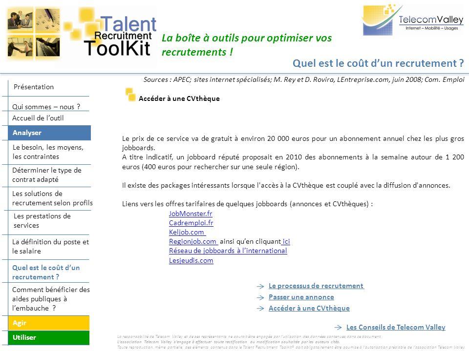 Quel est le coût dun recrutement ? La boîte à outils pour optimiser vos recrutements ! Accéder à une CVthèque Le prix de ce service va de gratuit à en
