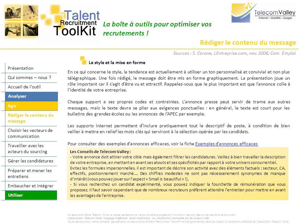 Rédiger le contenu du message La boîte à outils pour optimiser vos recrutements .