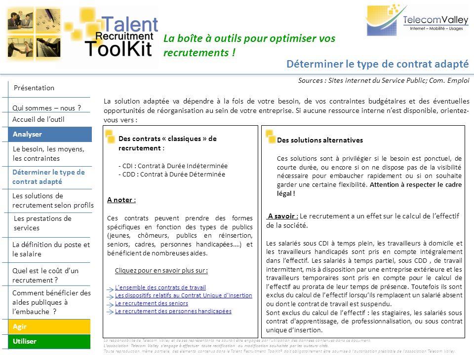 La définition du poste et le salaire La boîte à outils pour optimiser vos recrutements .