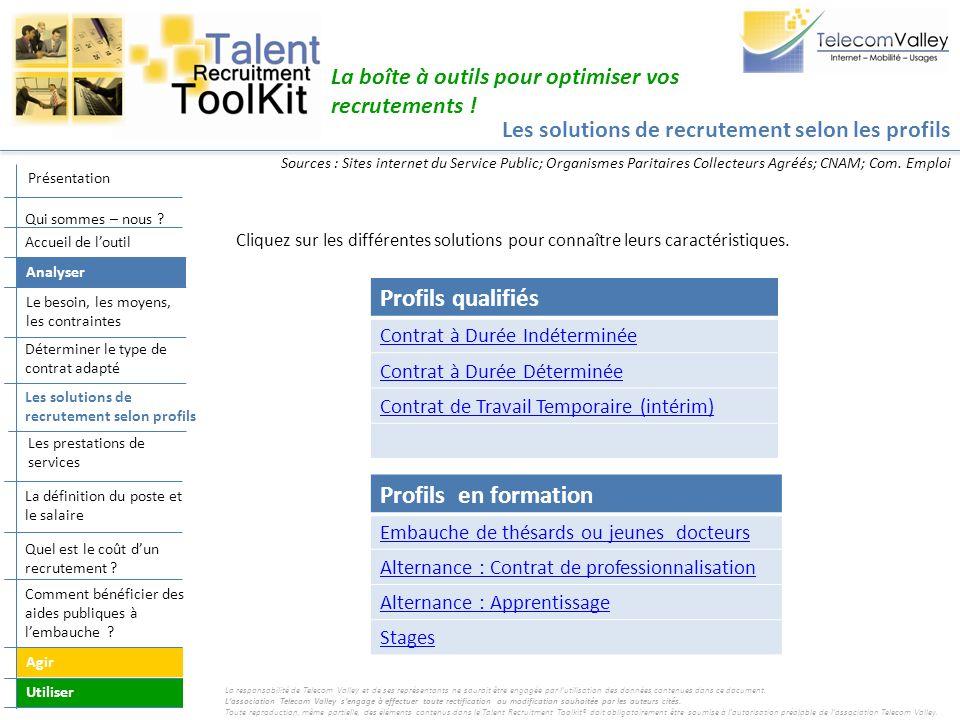 Les solutions de recrutement selon les profils La boîte à outils pour optimiser vos recrutements ! Profils en formation Embauche de thésards ou jeunes
