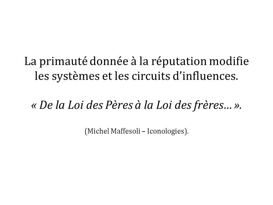 La primauté donnée à la réputation modifie les systèmes et les circuits dinfluences. « De la Loi des Pères à la Loi des frères… ». (Michel Maffesoli –