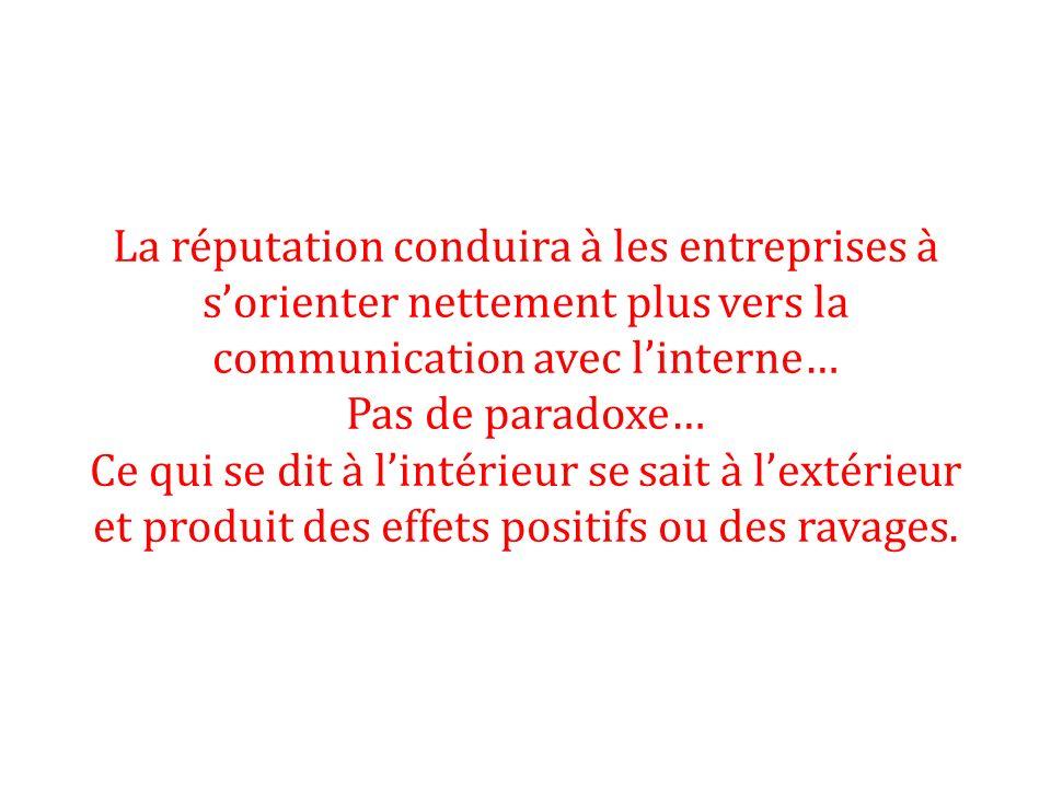 La réputation conduira à les entreprises à sorienter nettement plus vers la communication avec linterne… Pas de paradoxe… Ce qui se dit à lintérieur s