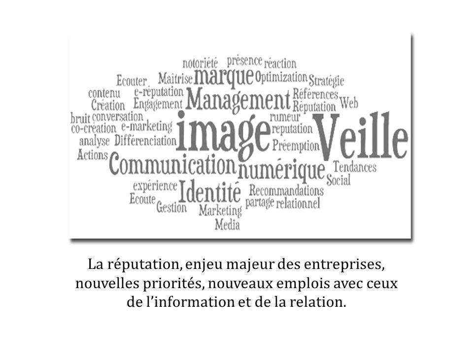 La réputation, enjeu majeur des entreprises, nouvelles priorités, nouveaux emplois avec ceux de linformation et de la relation.
