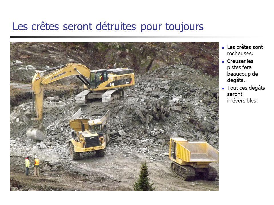 Les crêtes seront détruites pour toujours Les crêtes sont rocheuses. Creuser les pistes fera beaucoup de dégâts. Tout ces dégâts seront irréversibles.