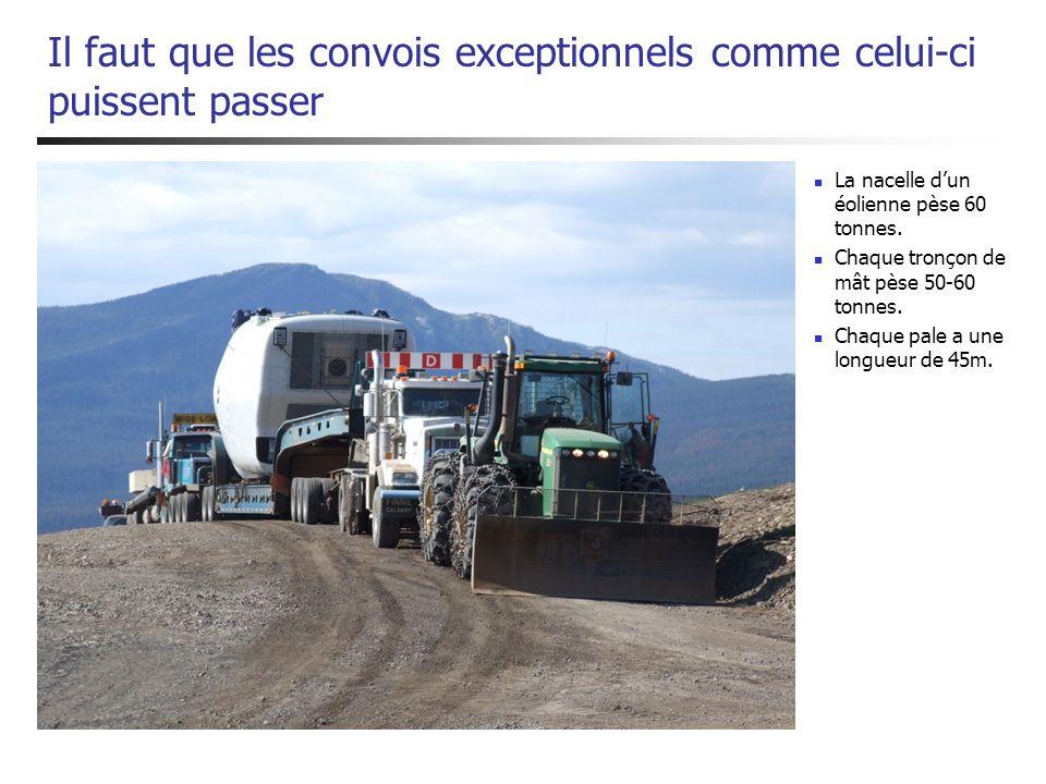 Il faut que les convois exceptionnels comme celui-ci puissent passer La nacelle dun éolienne pèse 60 tonnes. Chaque tronçon de mât pèse 50-60 tonnes.
