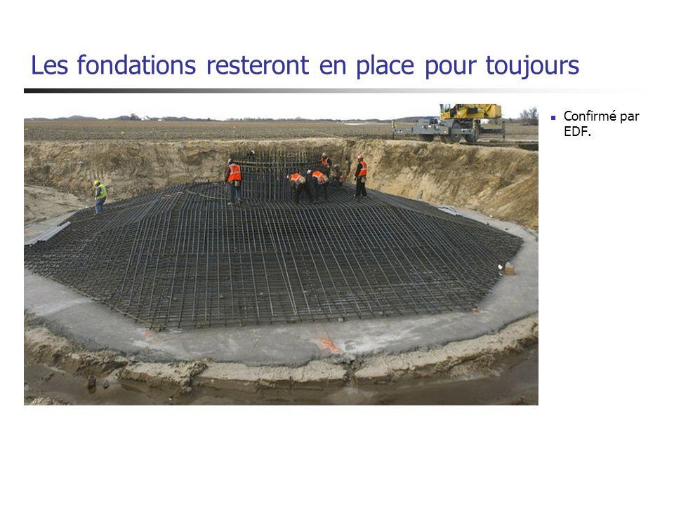 Les fondations resteront en place pour toujours Confirmé par EDF.