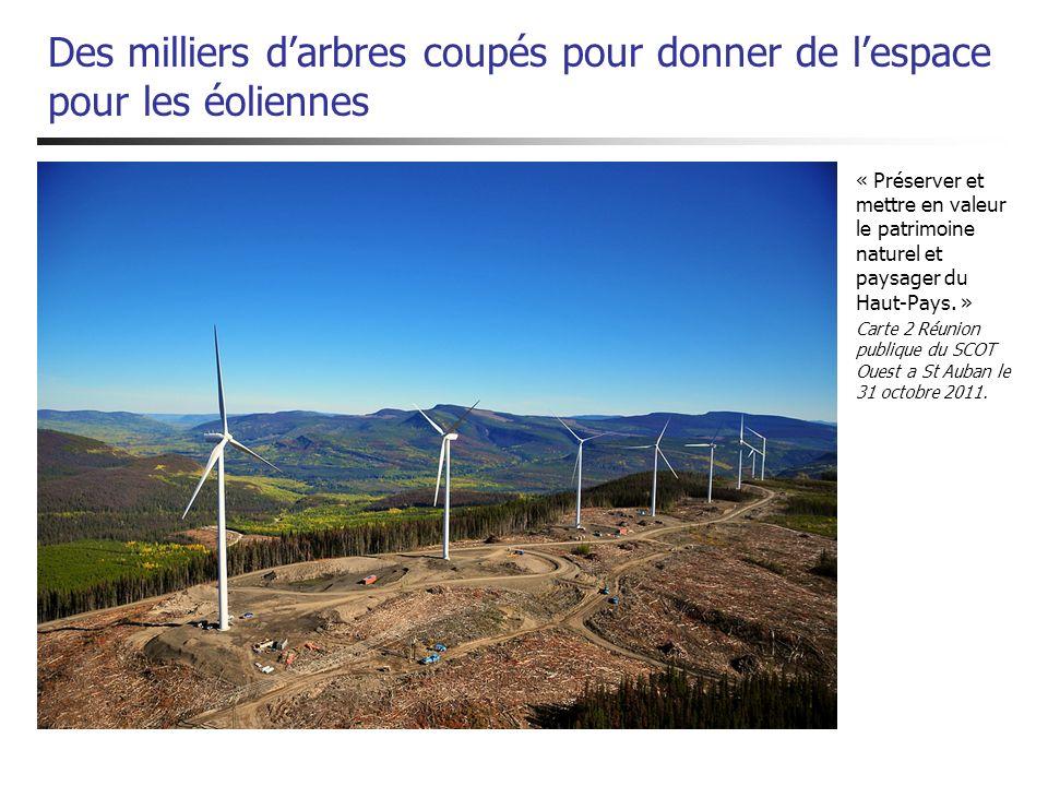 Des milliers darbres coupés pour donner de lespace pour les éoliennes « Préserver et mettre en valeur le patrimoine naturel et paysager du Haut-Pays.