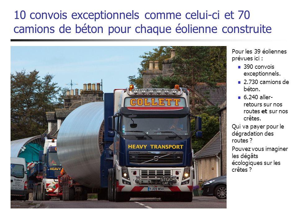 10 convois exceptionnels comme celui-ci et 70 camions de béton pour chaque éolienne construite Pour les 39 éoliennes prévues ici : 390 convois excepti