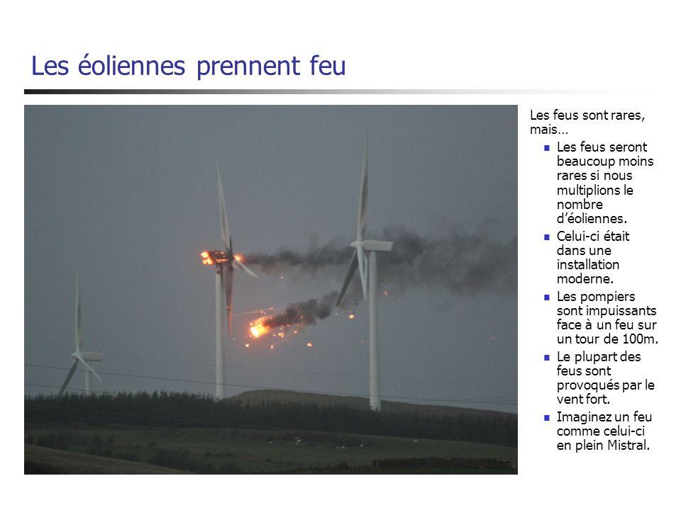 Les éoliennes prennent feu Les feus sont rares, mais… Les feus seront beaucoup moins rares si nous multiplions le nombre déoliennes. Celui-ci était da