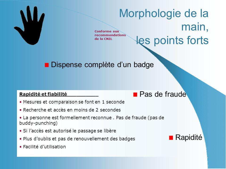 Morphologie de la main, les points forts Dispense complète dun badge Rapidité et fiabilité__________ Mesures et comparaison se font en 1 seconde Recherche et accès en moins de 2 secondes La personne est formellement reconnue.