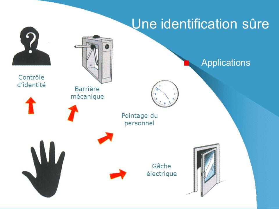 Une identification sûre Applications Contrôle didentité Barrière mécanique Pointage du personnel Gâche électrique